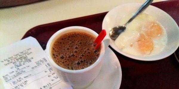 ヤ・クン・カヤトーストのkopiと半熟卵